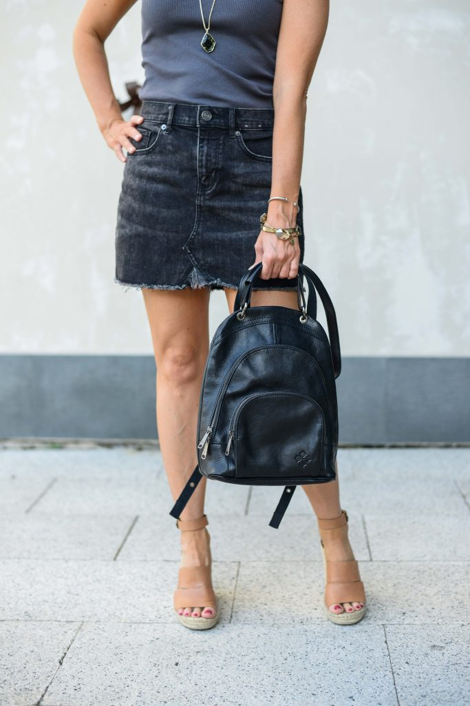 summer outfit | black faded jean skirt | leather backpack bag | Houston Fashion Blogger Lady in Violet