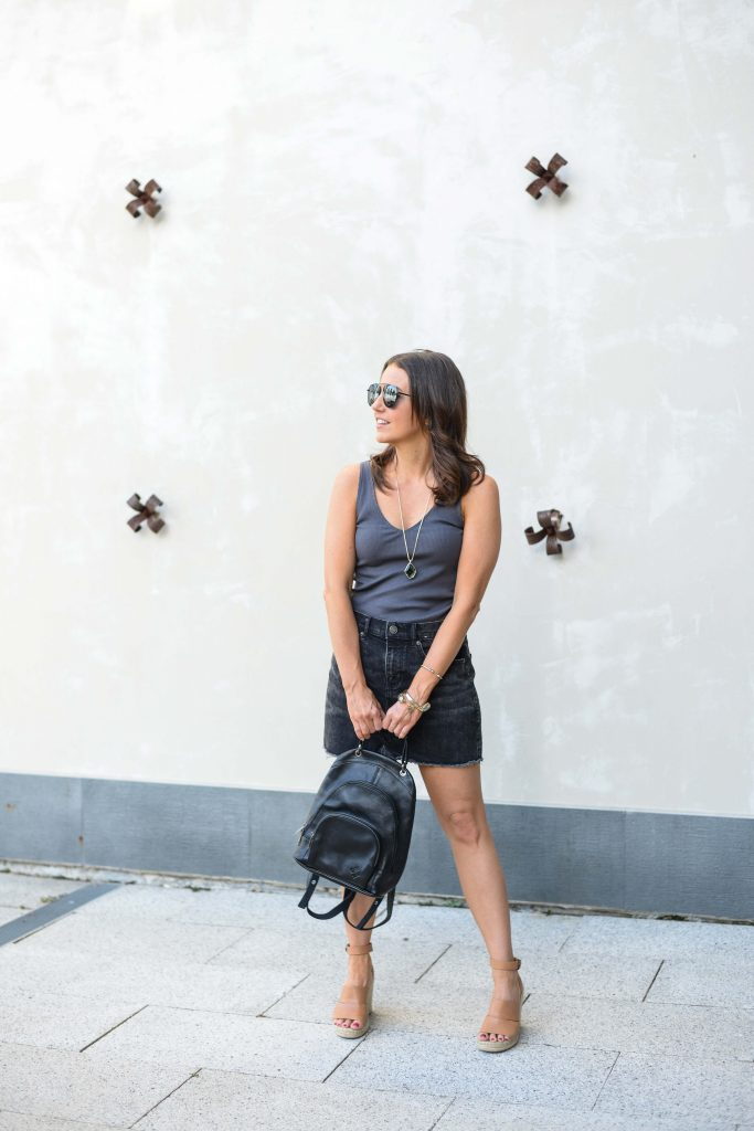 summer outfit | dark gray tank top | black mini skirt | Affordable Fashion Blogger Lady in Violet