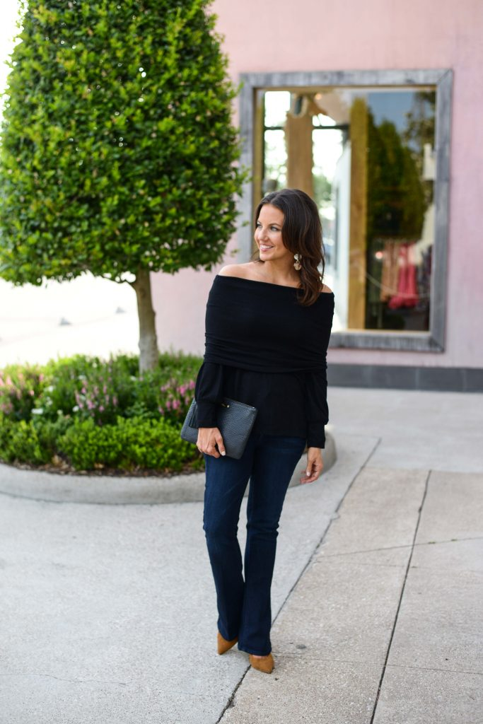 fall outfit | black off the shoulder top | dark wash flared jeans | Petite Fashion Blog Lady in Violet