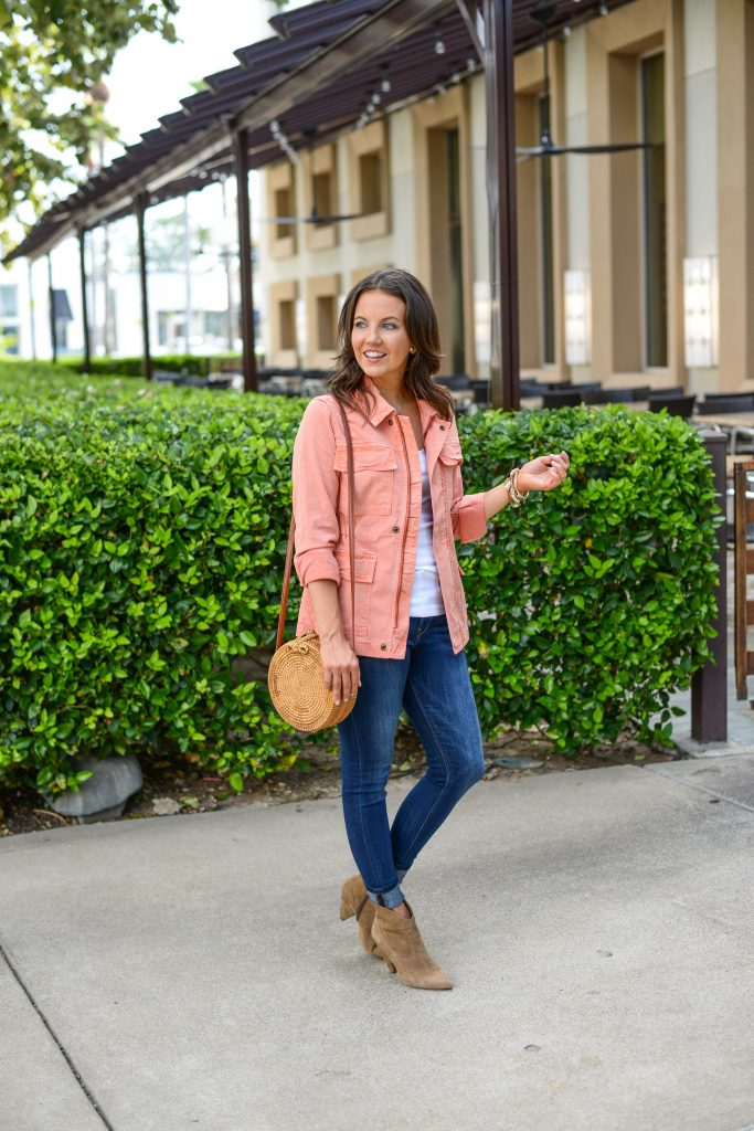 fall outfit | coral utility jacket | brown booties | Petite Fashion Blogger Lady in Violet