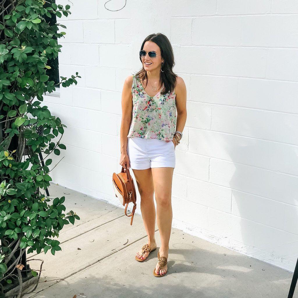 summer outfit | floral crop top | white cotton shorts | Affordable Fashion Blog Lady in Violet