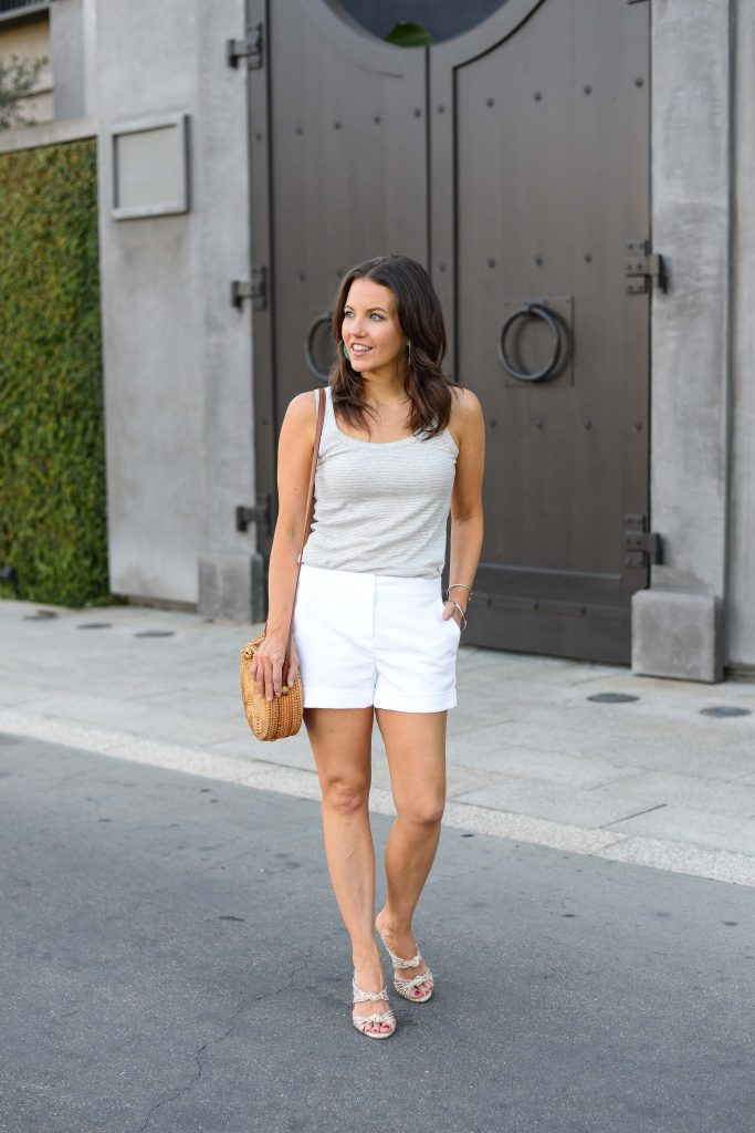 summer outfit | gray striped tank top | white cotton shorts | Petite Fashion Blogger Lady in Violet