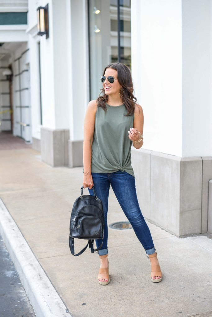 summer outfit | light green tank top | blue cuffed skinny jeans | Petite Fashion Blog Lady in Violet