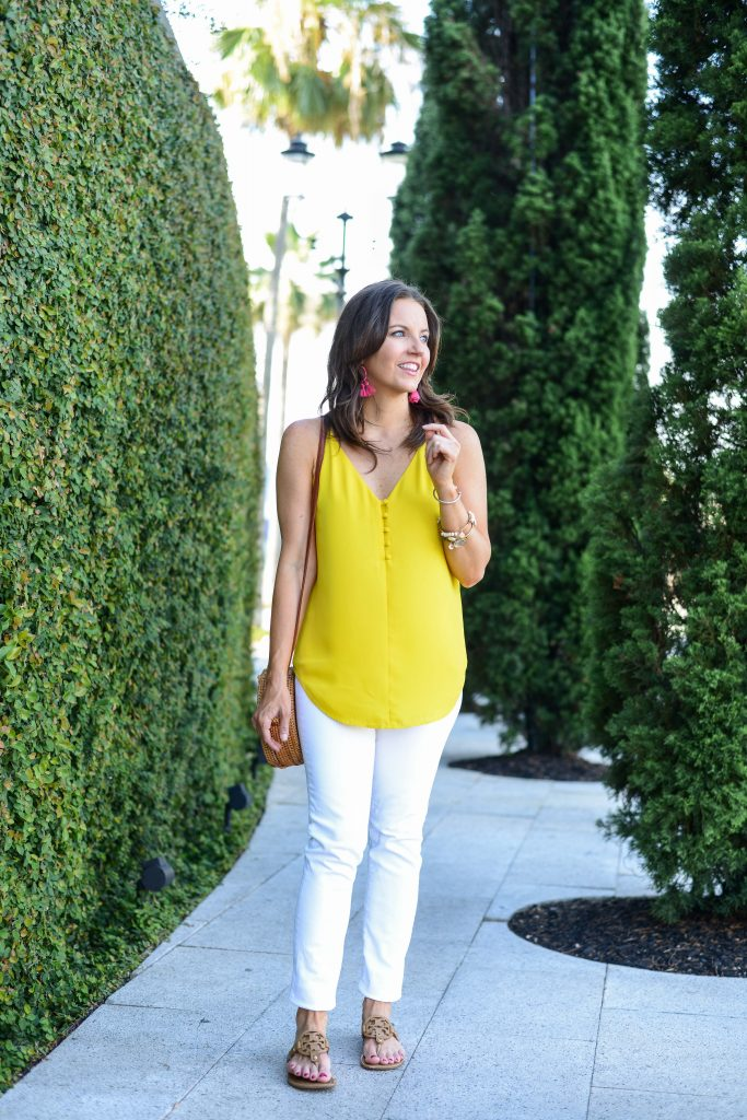 summer outfit | yellow cami top | white skinny jeans | Petite Fashion Blogger Lady in Violet