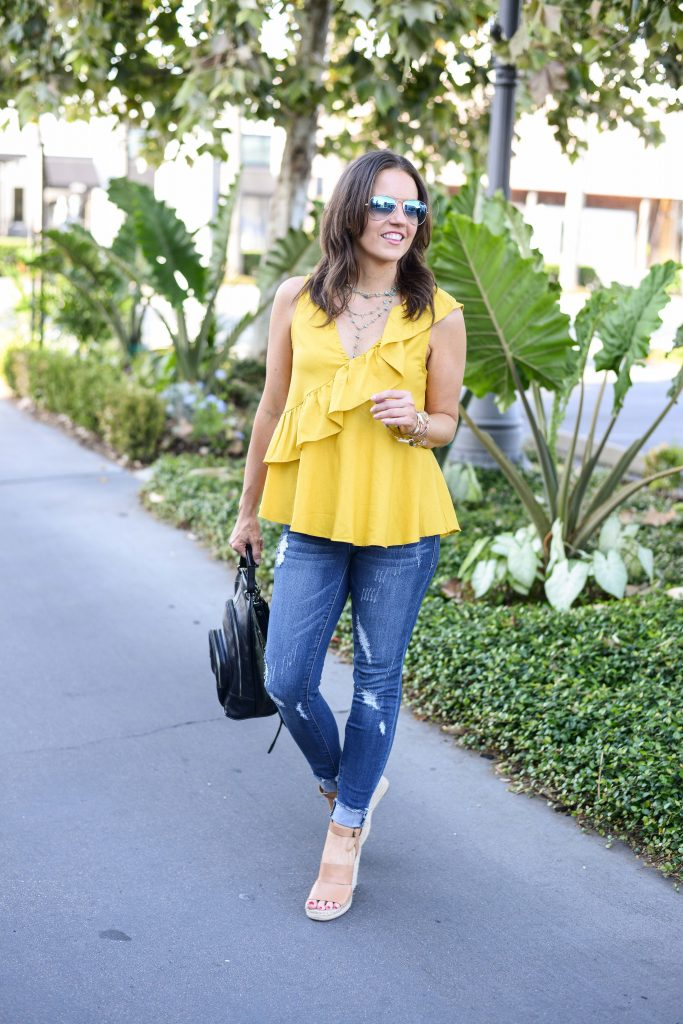 summer outfit | yellow ruffle top | distressed skinny jeans | Petite Fashion Blogger Lady in Violet