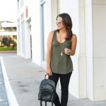 Olive Green Tank Top + Rose Gold Aviators