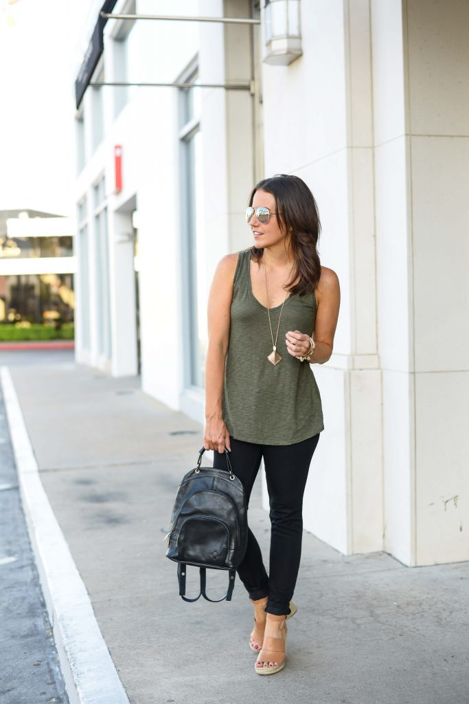 summer to fall transitional outfit | olive green tank top | black leather backpack | Affordable Fashion Blog Lady in Violet