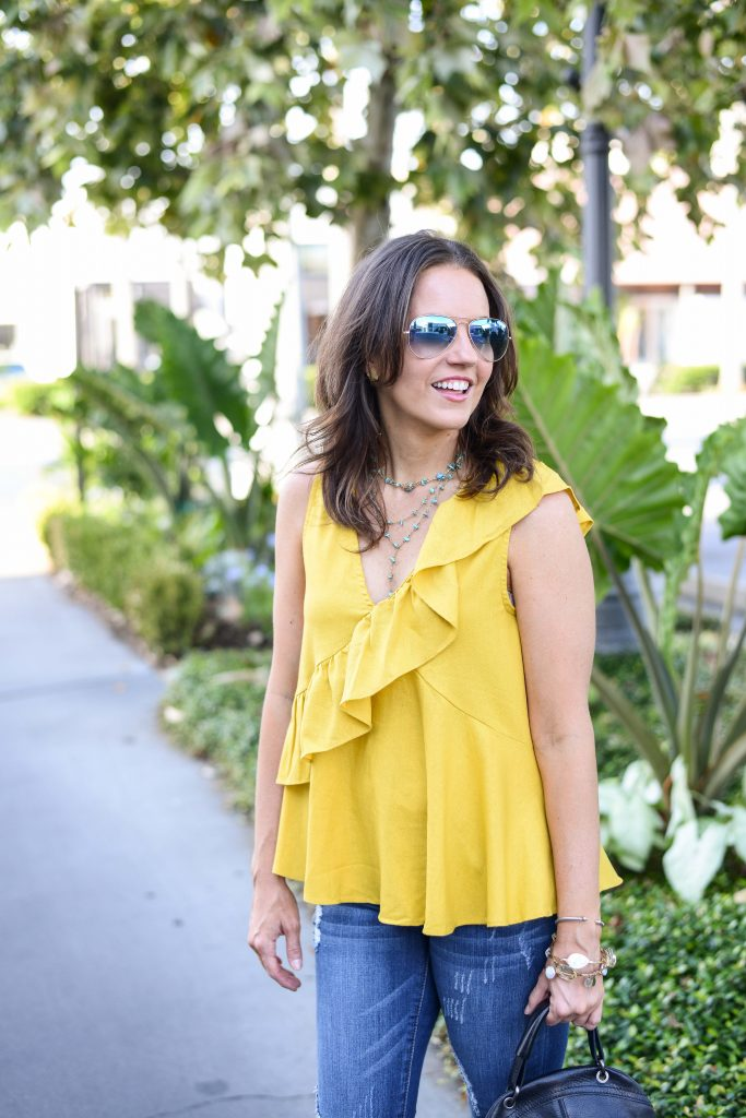 casual outfit | blue ombre aviator sunglasses | yellow sleeveless top | Everyday Fashion Blog Lady in Violet