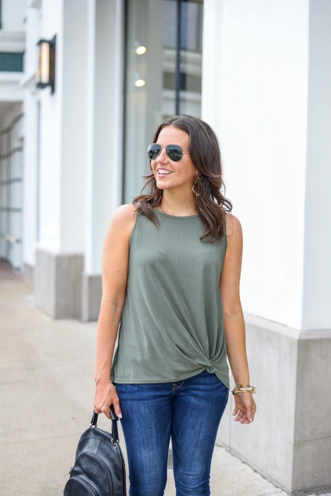casual outfit | green twist sleeveless top | rayban aviator sunglasses | Affordable Fashion Blog Lady in Violet