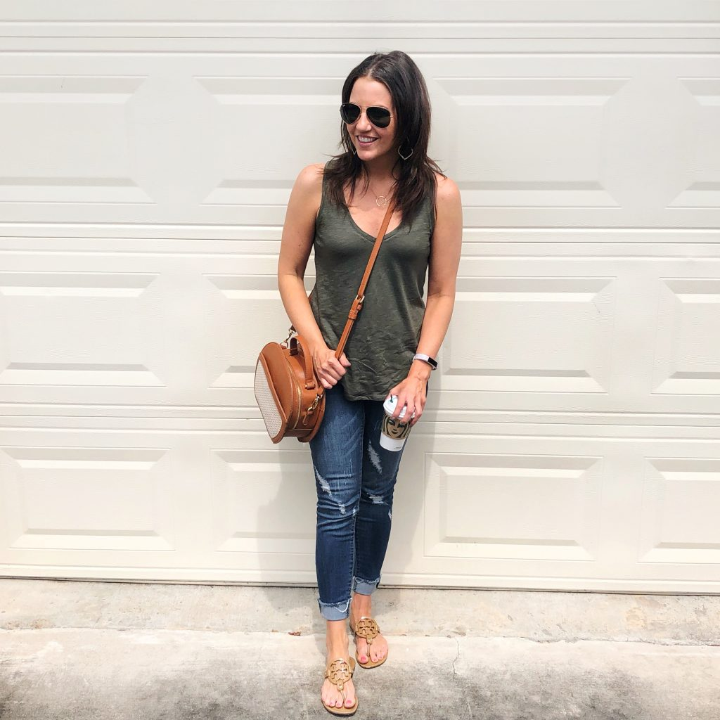 casual outfit | olive green tank top | blue cuffed jeans | Houston Fashion Blog Lady in Violet