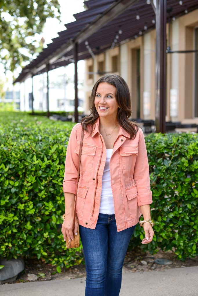 casual outfit | pink utility jacket | white tank top | Affordable Fashion Blog Lady in Violet