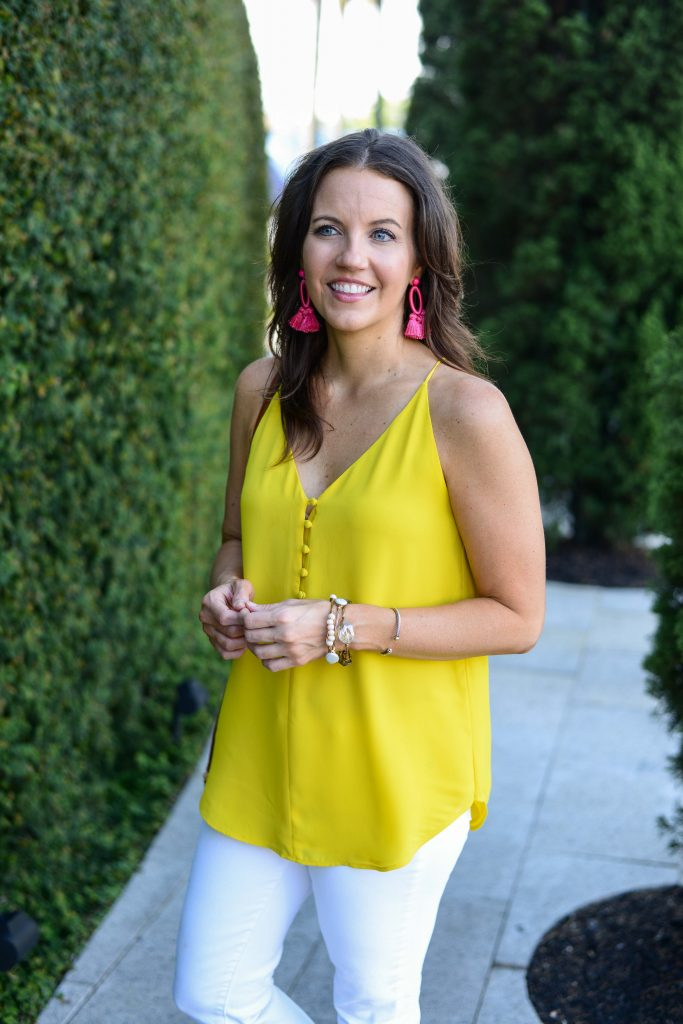 casual outfit | yellow cami tank top | pink statement earrings | Affordable Fashion Blogger Lady in Violet