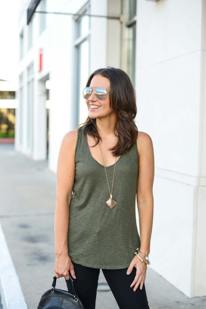 summer outfit | olive green tank top | rose gold pendant necklace | Houston Fashion Blog Lady in Violet