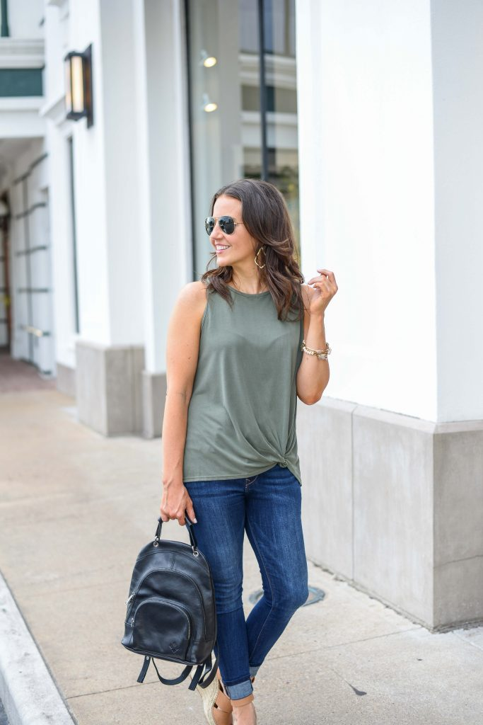 casual summer outfit | green tank top | black leather backpack | Budget Friendly Fashion Blog Lady in Violet