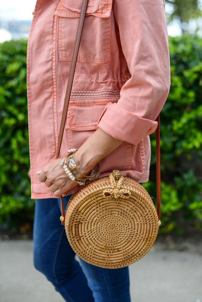 spring outfit | coral pink utility jacket | straw circle purse | Everyday Fashion Blog Lady in Violet