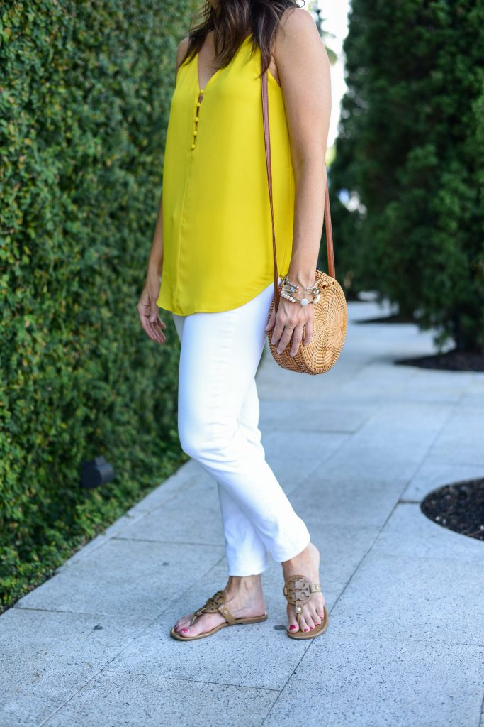 summer outfit | bright yellow top | tory burch miller sandals | Petite Fashion Blogger Lady in Violet