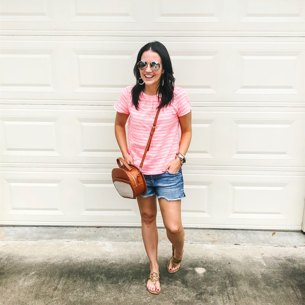 summer outfit | pink striped blouse | distressed jean shorts | Everyday Fashion Blog Lady in Violet