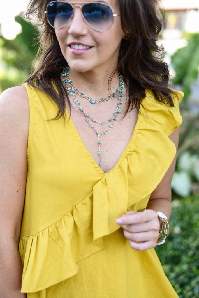 Summer style | turquoise layered necklace | yellow ruffle sleeveless top | Houston Fashion Blog Lady in Violet