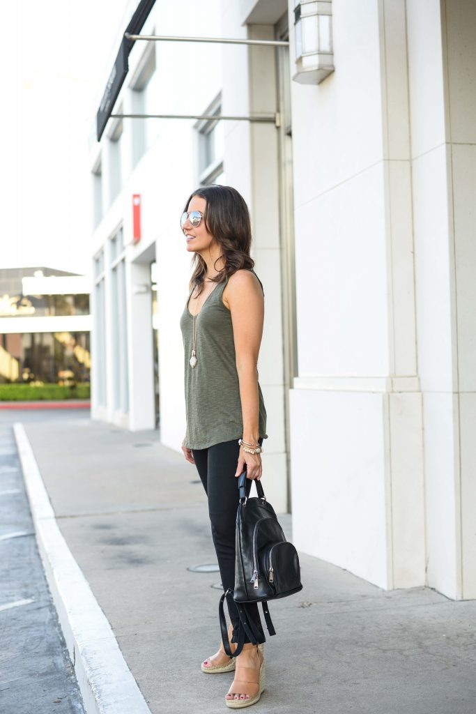 warm weather outfit | olive green sleevless top | black skinny jeans | Petite Fashion Blog Lady in Violet