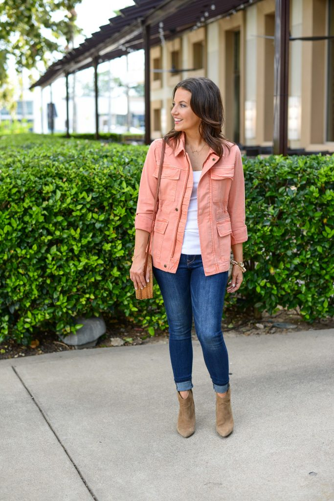 casual fall outfit | pink lightweight jacket | brown suede booties | Budget Friendly Fashion Blog Lady in Violet
