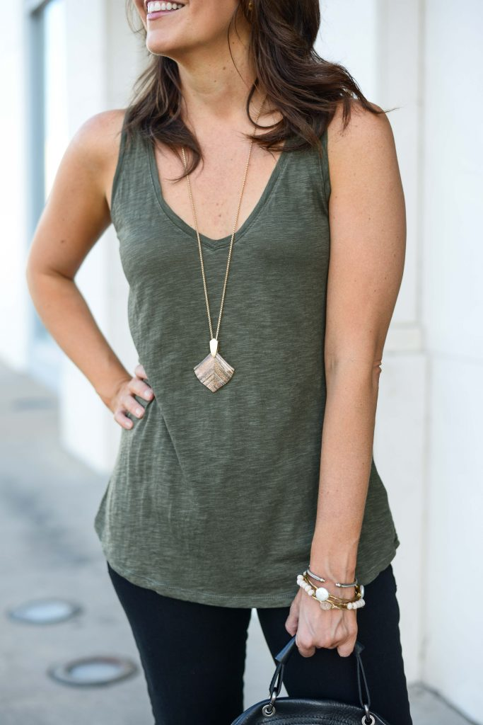 casual outfit | olive green tank top | rose gold long necklace | Everyday Fashion Blog Lady in Violet