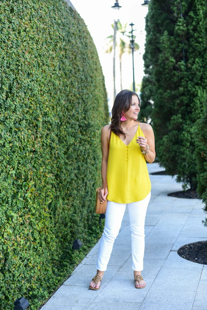 casual summer outfit | yellow camisole button top | white jeans | Houston Fashion Blogger Lady in Violet
