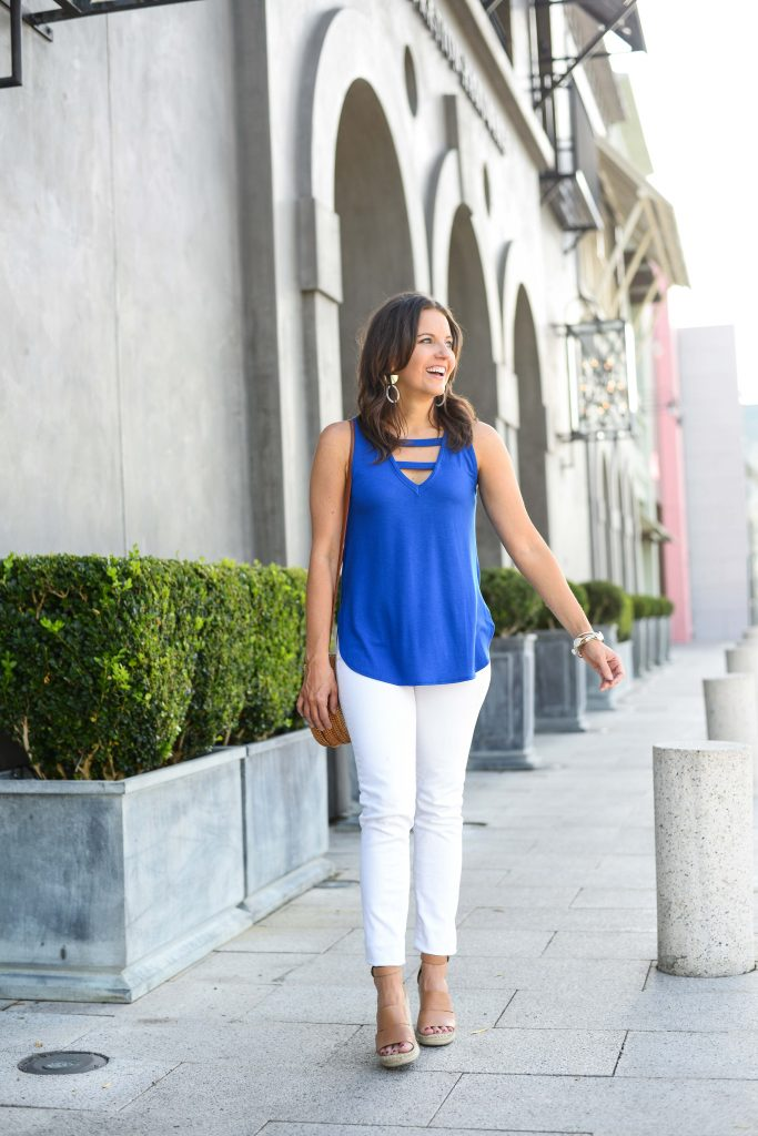 summer outfit | bright blue tank top | white jeans | Female Fashion Blog Lady in Violet