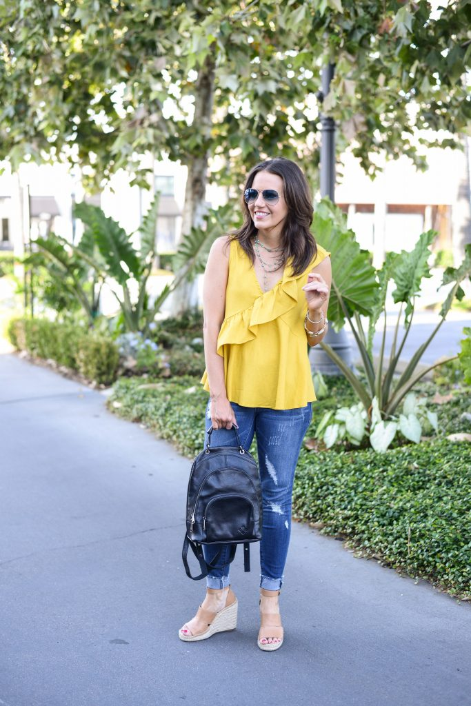 summer outfit | yellow vneck tank top | black backpack | Affordable Fashion Blog Lady in Violet