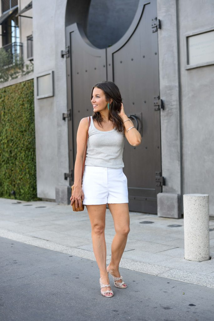 summer style | gray striped sleeveless top | white cotton shorts | | Budget Fashion Blog Lady in Violet
