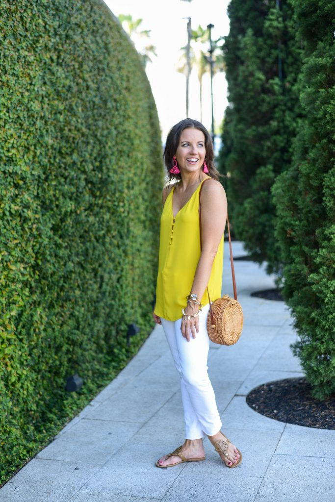 casual outfit | yellow button cami top | white denim | Affordable Fashion Blogger Lady in Violet