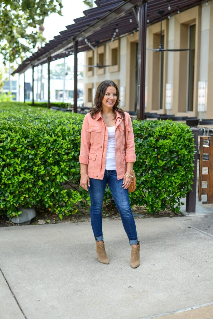 casual spring outfit | coral lightweight jacket | blue skinny jeans | Texas Fashion Blog Lady in Violet