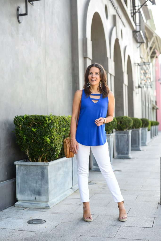 summer fashion | cobalt blue sleeveless top | best white skinny jeans | Houston Fashion Blogger Lady in Violet