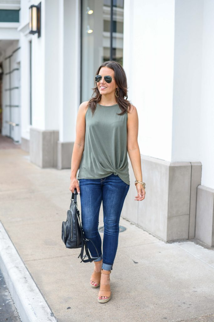 summer style | light green tank top | blue skinny jeans | Everyday Fashion Blog Lady in Violet