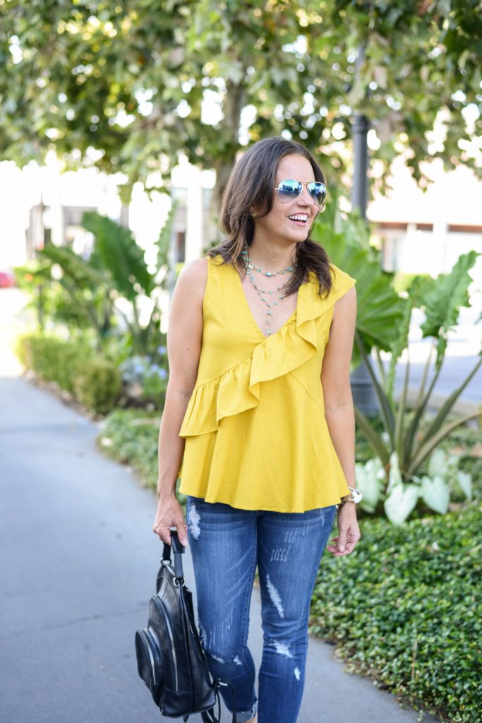 everyday outfit | yellow ruffle top | y choker necklace | Budget Friendly Fashion Blog Lady in Violet