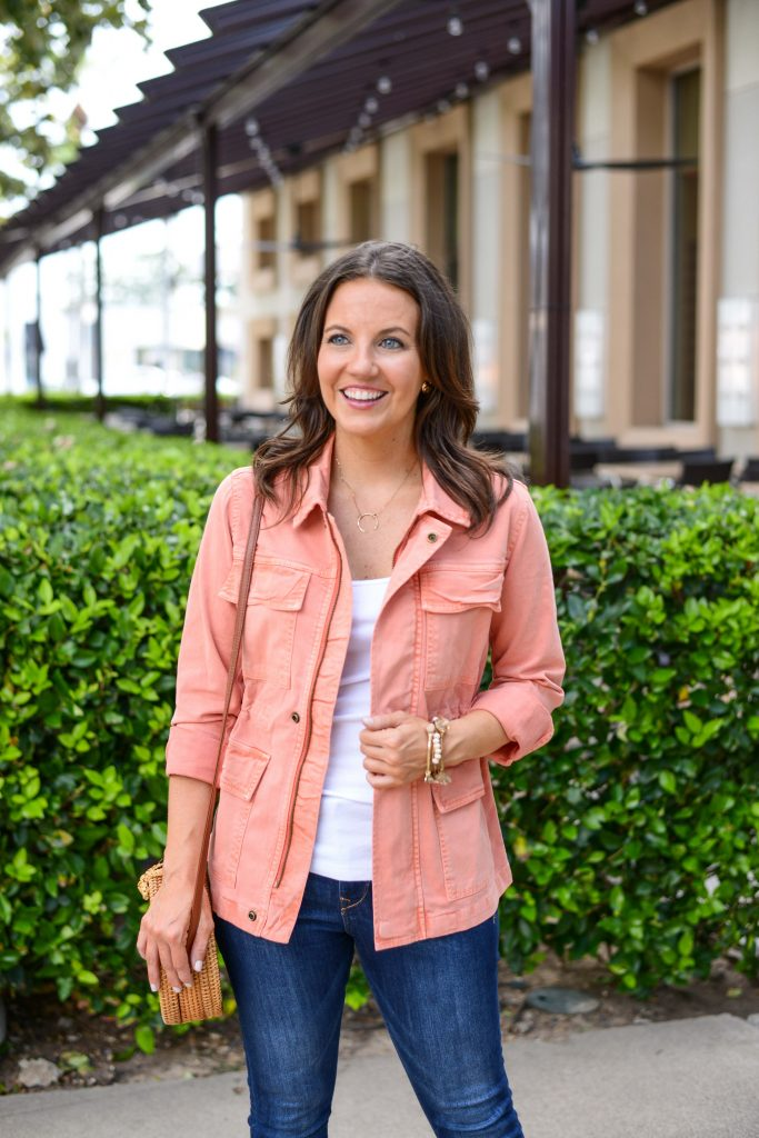 fall outfits | light pink utility jacket | white tank top | Casual Fashion Blog Lady in Violet