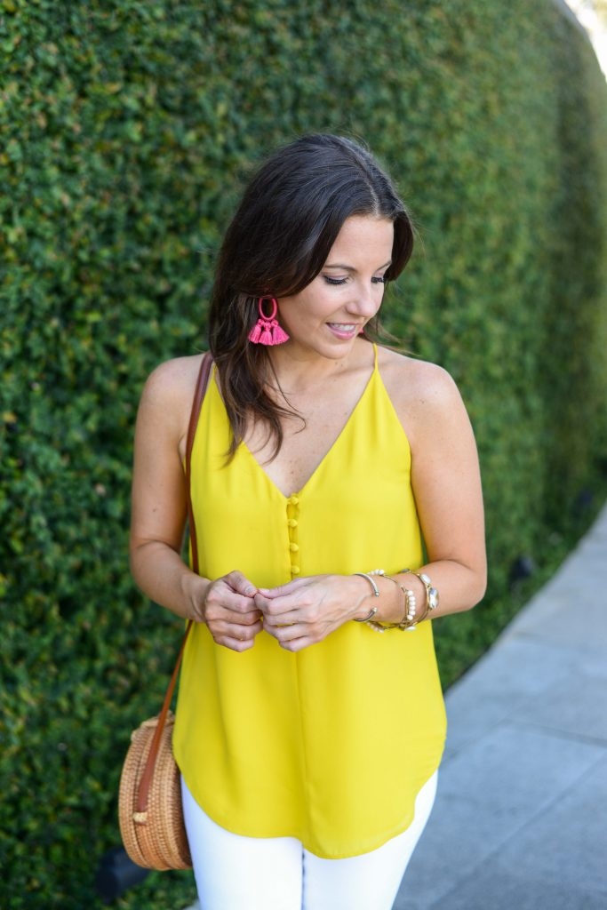 summer outfit idea | pink statement earrings | yellow cami top | Houston Fashion Blogger Lady in Violet