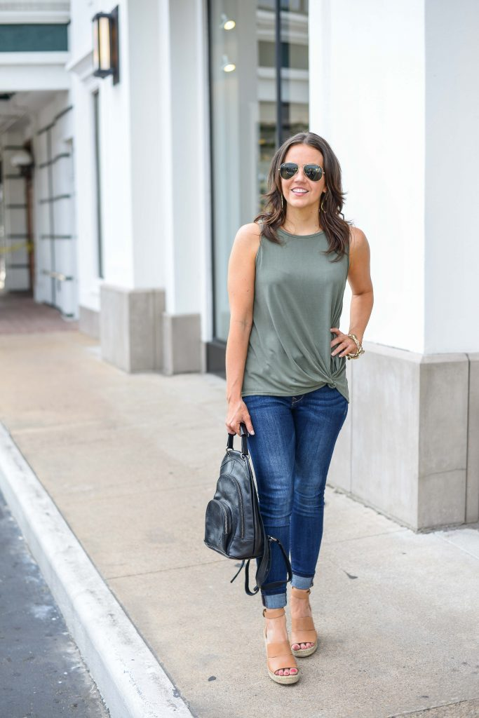 Summer outfit | sage green sleeveless top | brown wedge sandals | Texas Fashion Blogger Lady in Violet