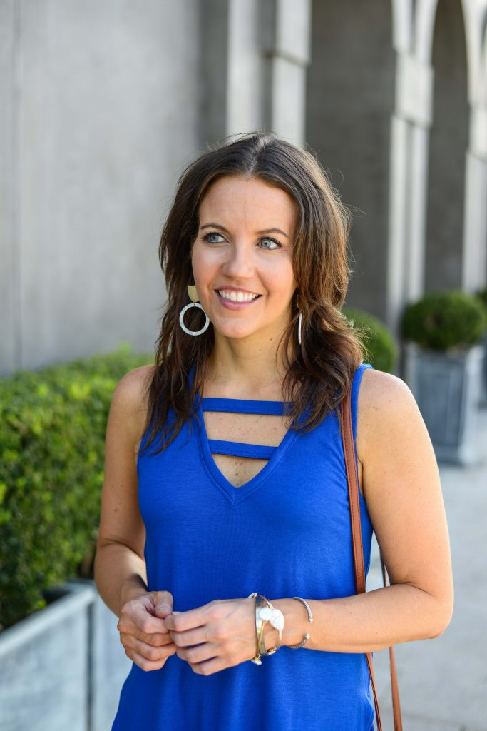 summer style | blue v neck tank top | gold statement earrings | Texas Fashion Blogger Lady in Violet