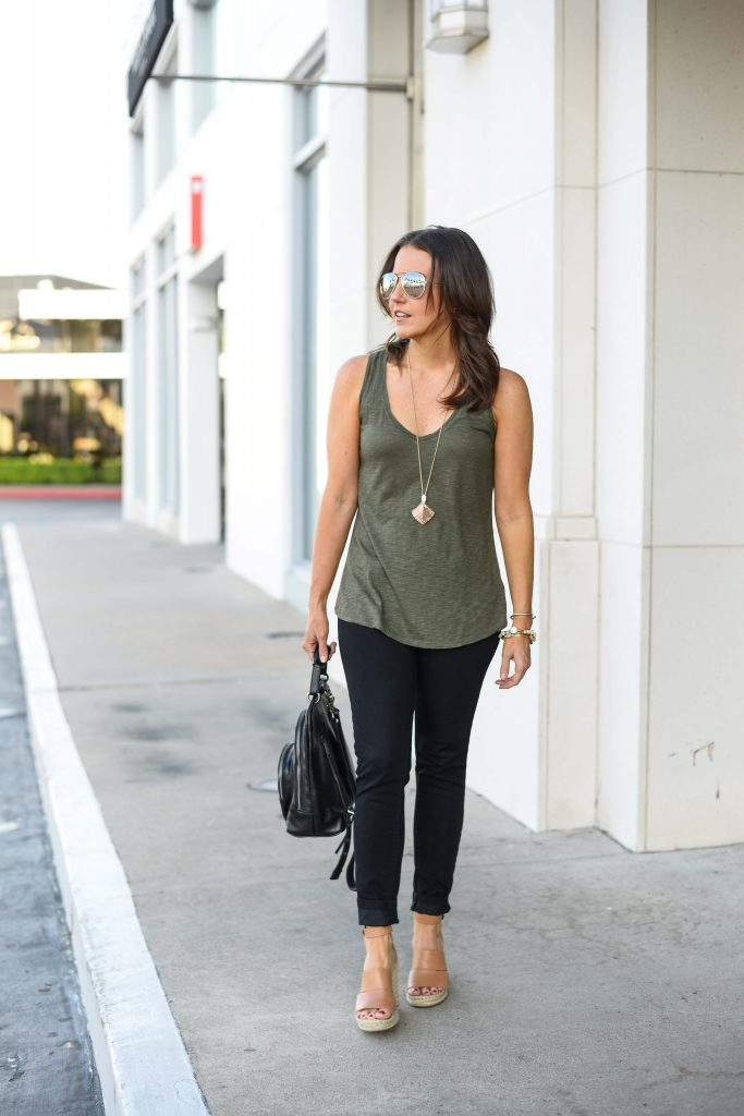 warm fall outfit | army green tank top | black skinny jeans | Texas Fashion Blogger Lady in Violet