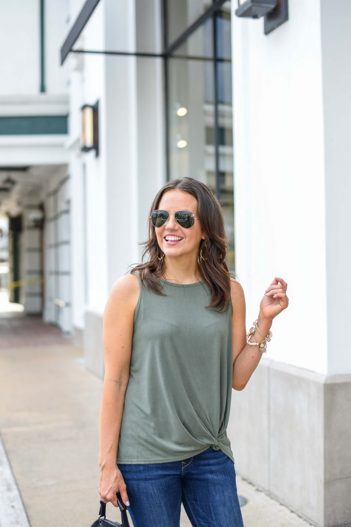 casual outfit | green sleeveless tie waist top | stone bangles | Houston Fashion Blog Lady in Violet