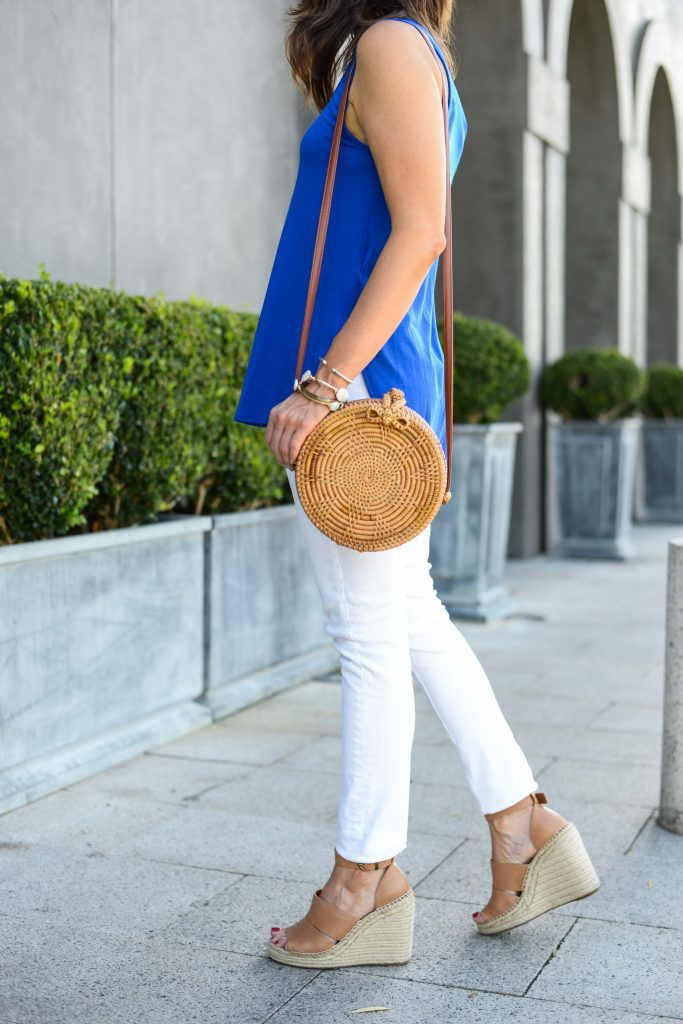 Summer outfit | circle straw crossbody bag | brown wedge sandals | Budget Fashion Blog Lady in Violet