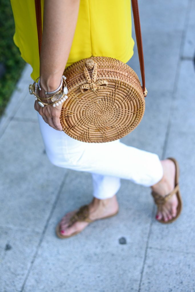 summer outfit | circle straw crossbody bag | nude colored tory burch sandals | Affordable Fashion Blogger Lady in violet