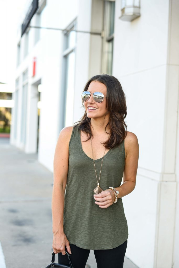 summer outfit | olive green tank top | rose gold aviator sunglasses | Chic Fashion Blog Lady in Violet