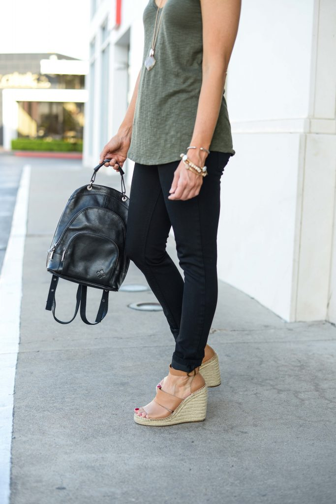 casual outfit | black leather backpack | brown espadrille wedge sandals | Petite Fashion Blog Lady in Violet