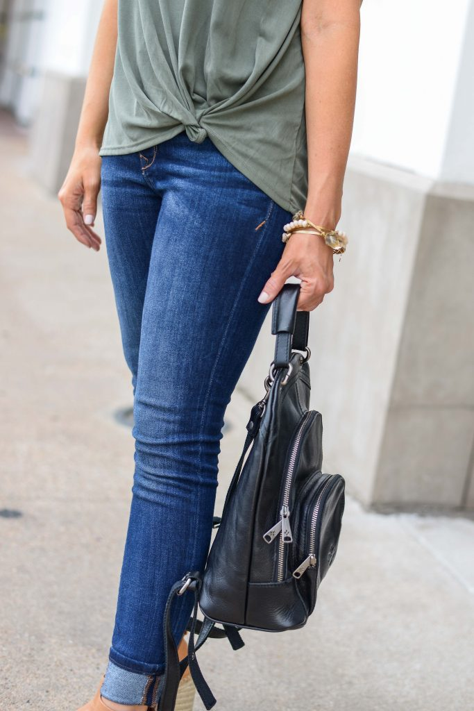 fall outfit | blue cuffed skinny jeans | black leather backpack | Petite Fashion Blog Lady in Violet