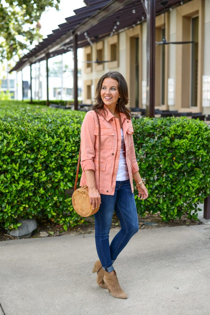 fall outfit | coral pink jacket | affordable blue jeans | Popular Fashion Blog Lady in Violet