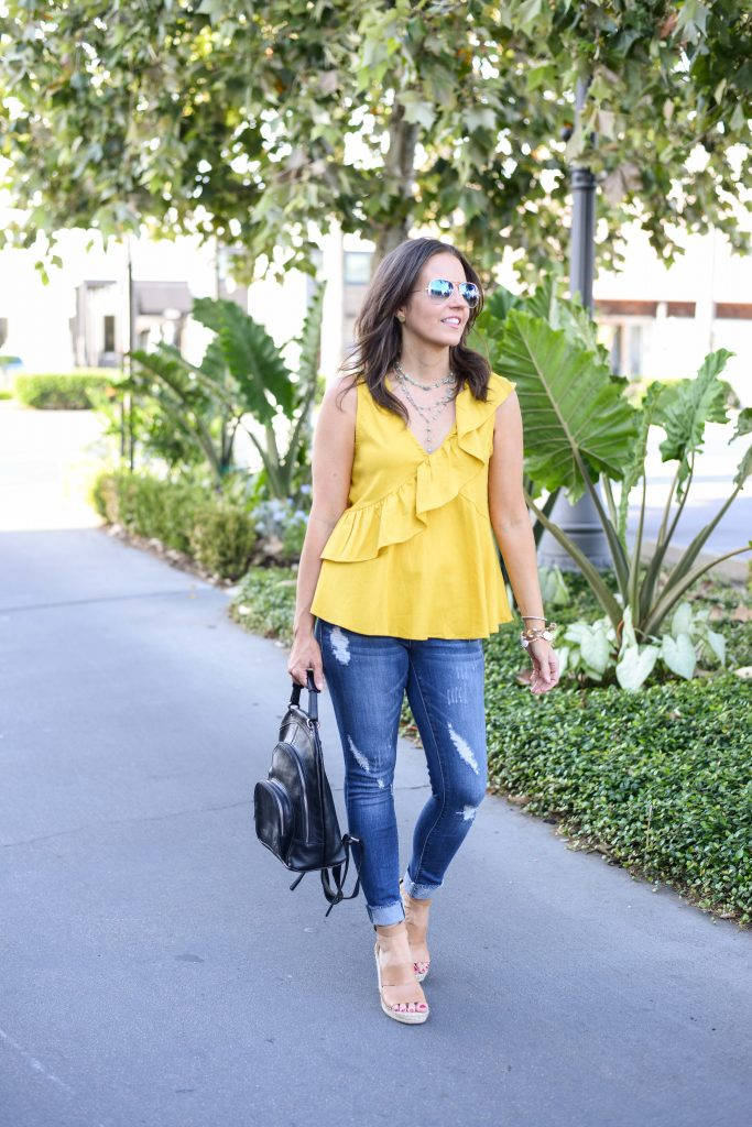 summer casual outfit | yellow ruffle sleeveless top | distressed jeans | Popular Fashion Blog Lady in Violet