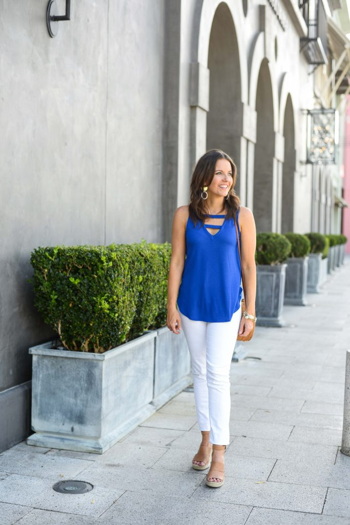 summer outfit | blue tank top | white denim | Everyday Fashion Blog Lady in Violet