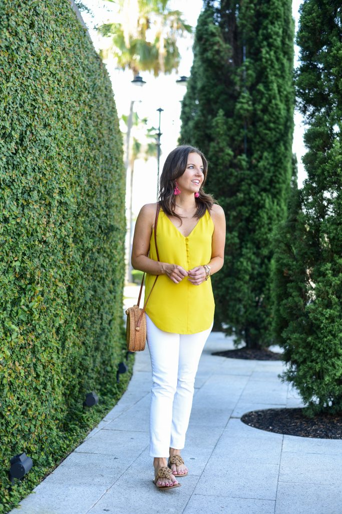 summer outfit | yellow camisole tank top | white skinny jeans | Texas Fashion Blogger Lady in Violet