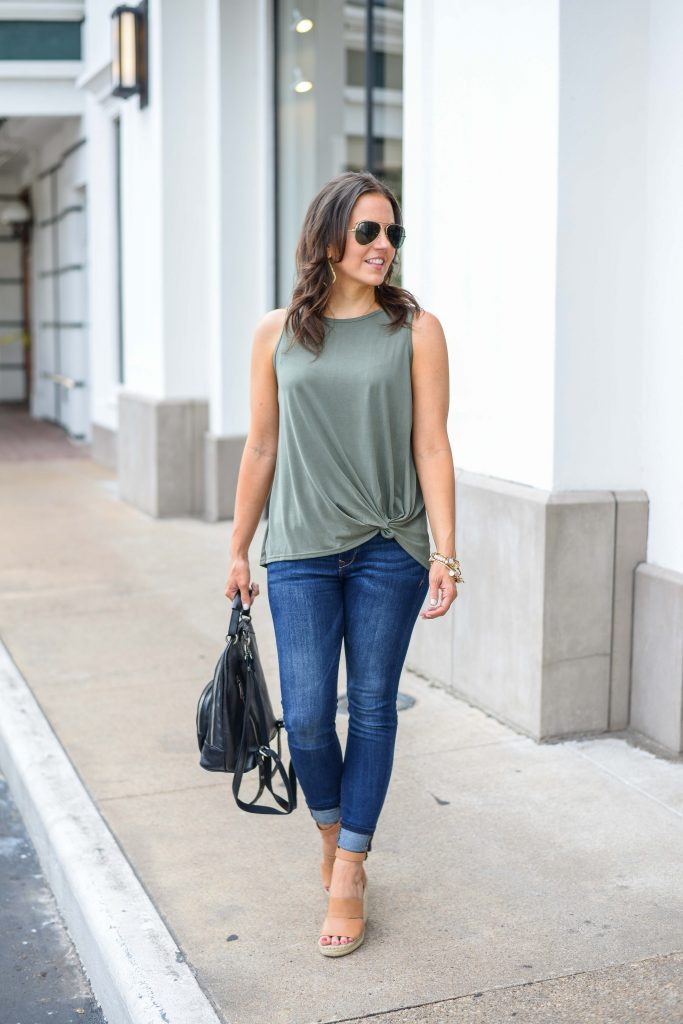 casual outfit idea | green tie waist tank top | blue skinny jeans | Popular Fashion Blog Lady in Violet